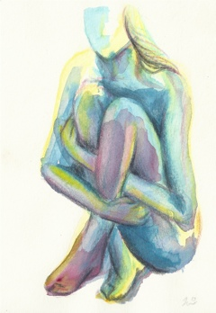 contortion, watercolors and pencil on paper by Jennie Rosenbaum