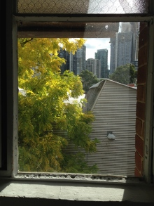 The view from on of my studio window panes